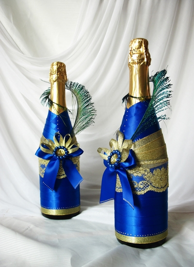 Как украсить бутылки шампанского на свадьбу своими